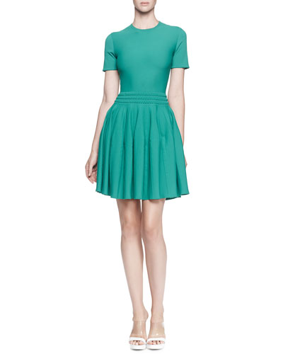 Alexander McQueen Pleated knit Dress w/Textured Waistband