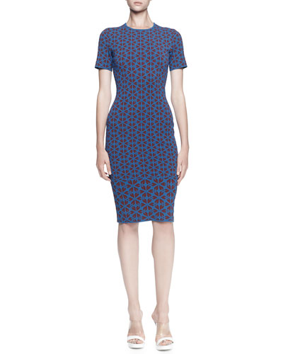 Alexander McQueen Short-Sleeve Embossed Knee-Length Dress