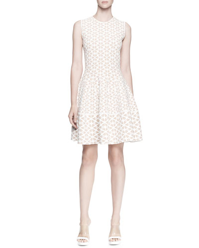 Alexander McQueen Sleeveless Embossed A-Line Dress