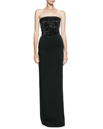 Alexander McQueen Beaded-Bodice Strapless Gown