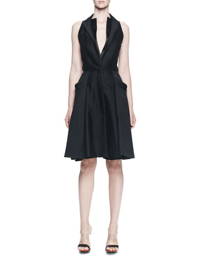Alexander McQueen Sleeveless Halter-Front A-line Dress