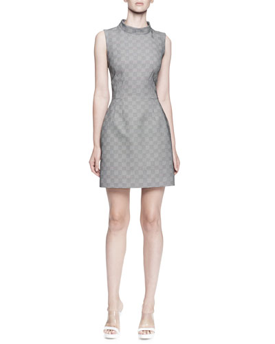 Alexander McQueen Sleeveless Plaid Mock-Neck Dress