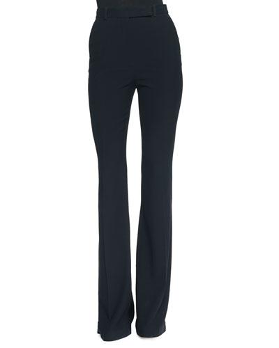 Alexander McQueen Flat-Front Flared Crepe Pants