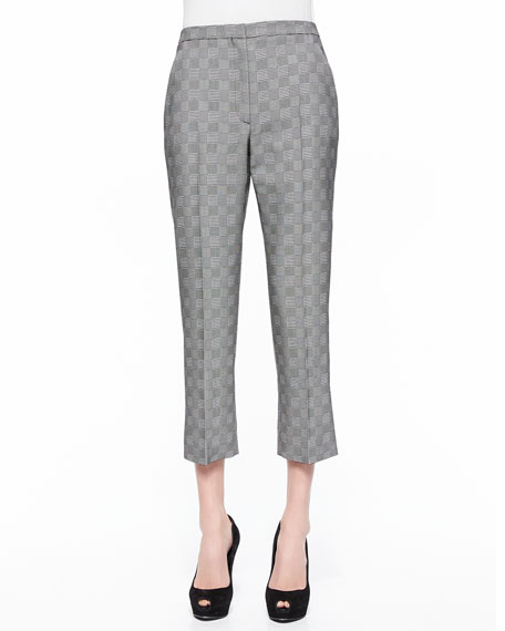 Glen Plaid Jacquard Cropped Pants