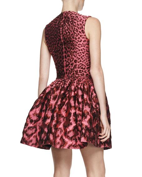Leopard Brocade Pouff Dress