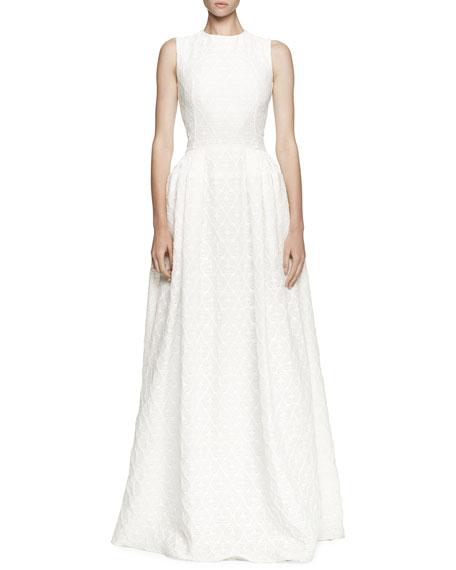 Alexander McQueen Floral Jacquard Full-Skirt Gown
