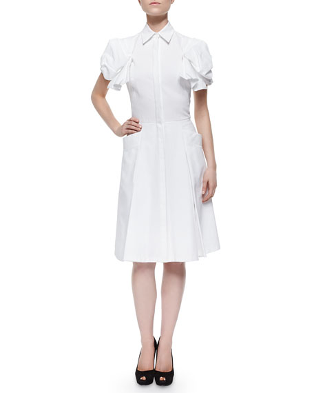 Alexander McQueen Puff-Sleeve Pique-Knit Shirtdress