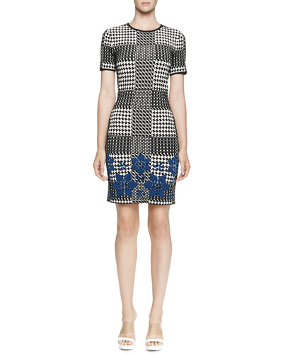 Alexander McQueen Short-Sleeve Plaid Sheath Dress