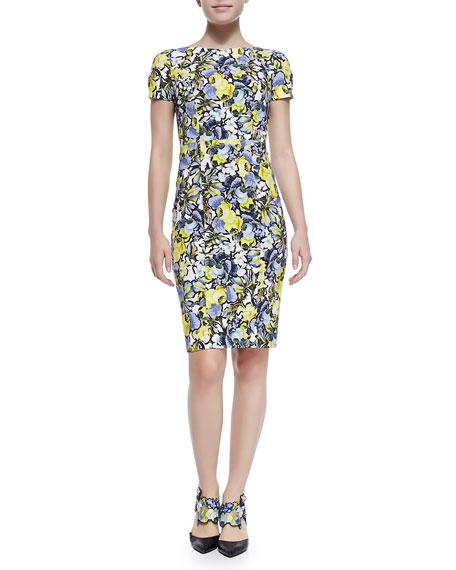 Joyce Short-Sleeve Floral Sheath Dress