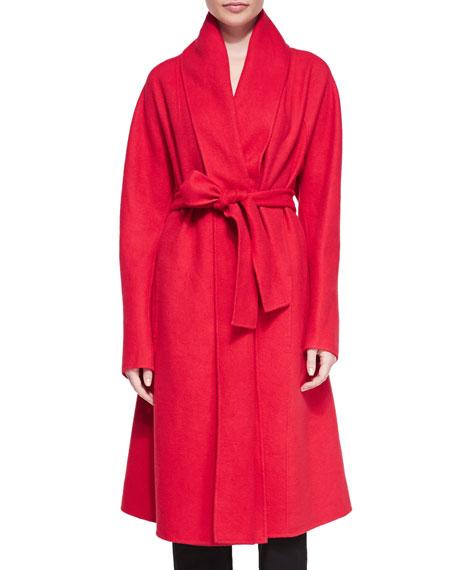 Donna Karan Cashmere Shawl-Collar Belted Coat