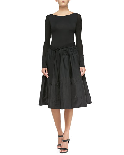 Long-Sleeve Dress W/ Pleated Skirt