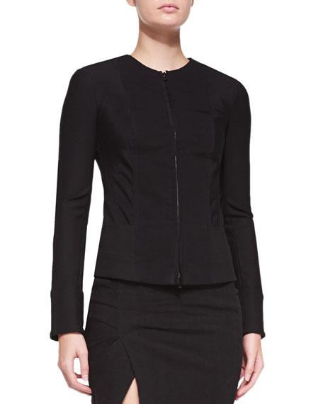 Donna Karan Collarless Zip-Front Jacket