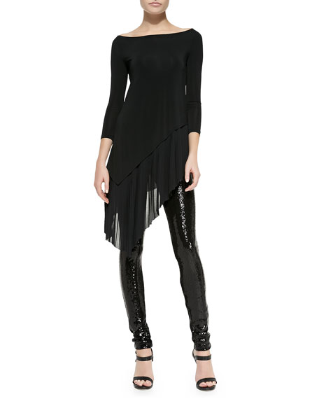 Donna Karan Sequined-Front Skinny Pants