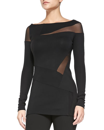 Donna Karan Long-Sleeve Sheer Collage Tunic