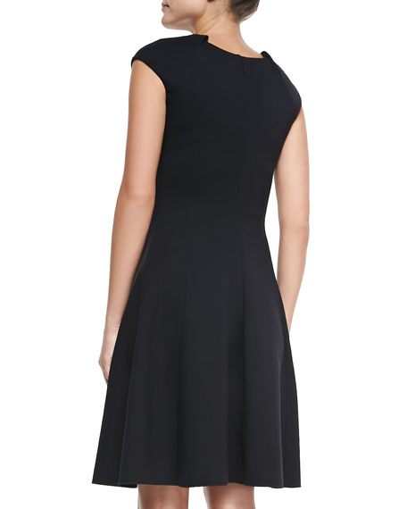 Fit-and-Flare Dress with Pleated Cap Sleeves