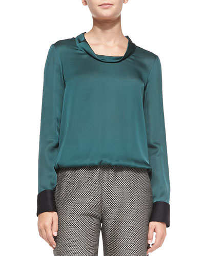Giorgio Armani French-Cuffed Long-Sleeve Silk Blouse