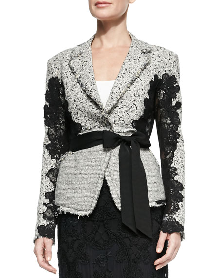 Donna Karan Grosgrain-Belted Lace Jacket, Ivory/Black