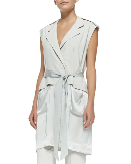 Donna Karan Long Vest w/ Grosgrain Bow Belt