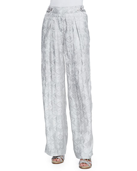 Donna Karan Wide-Leg Pants with Side Buttons