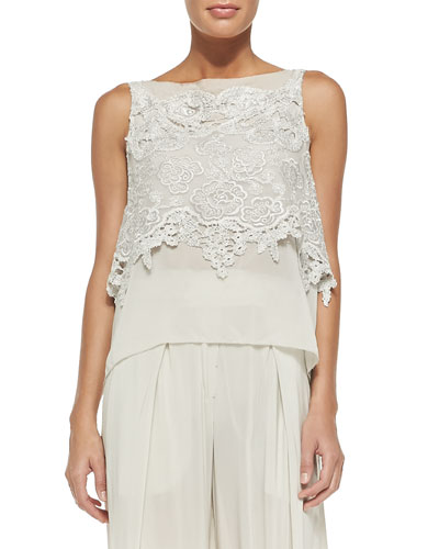 Sleeveless Macrame Bateau-Neck Top, Chalk