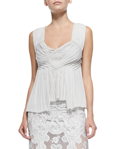 Donna Karan Crisscross-Back Smocked Top
