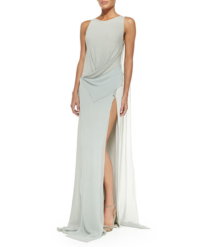 Bi-Color Draped-Front Evening Gown