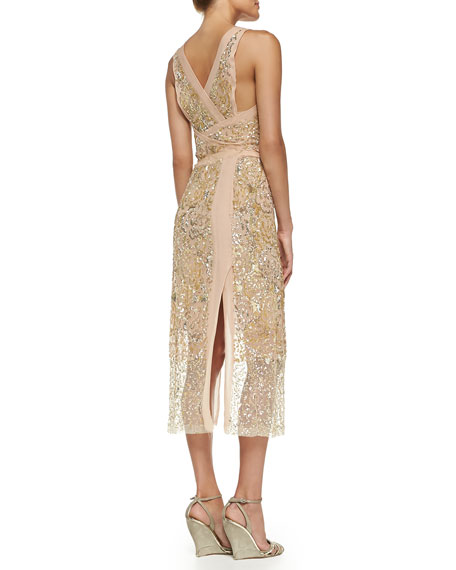 Embellished Mock-Wrap Cocktail Dress