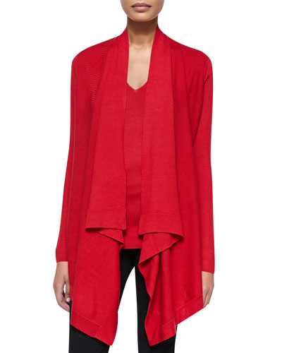 Long-Sleeve Drape-Front Cozy, Real Red