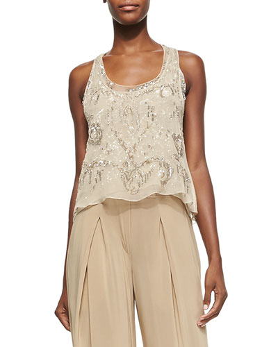 Embellished Double-Layer Tank Top