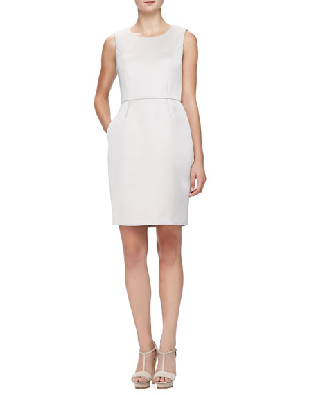Armani Collezioni Sleeveless Glossy Cady Sheath Dress, Almond