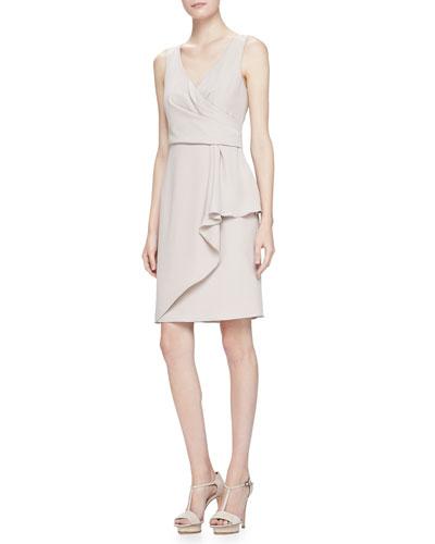 Armani Collezioni Sleeveless Surplice Drape Dress, Almond
