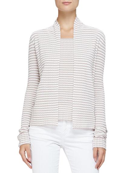 No-Closure Stripe Knit Cardigan, Mink/Multi