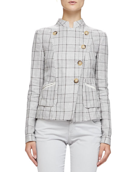 Armani Collezioni Prince of Wales Mandarin-Collared Jacket, Hazelnut