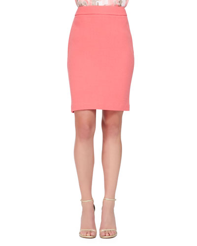 Double Crepe Pencil Skirt, Nasturtium