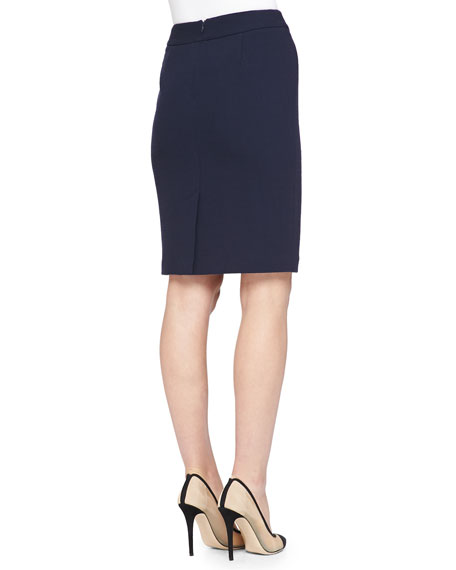 Double-Crepe Pencil Skirt, Navy