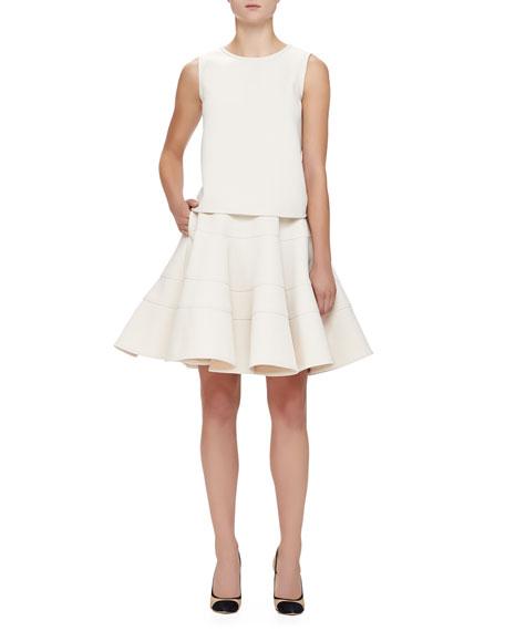 Seamed Double-Cady Full Skirt, Ivory