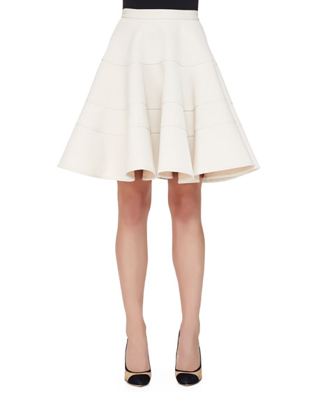 Armani Collezioni Seamed Double-Cady Full Skirt, Ivory