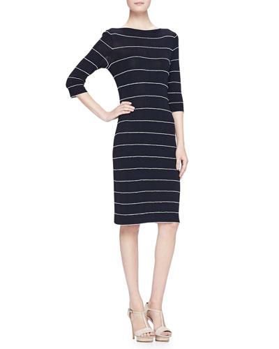 Armani Collezioni Elbow-Sleeve Striped Knit Dress, Navy