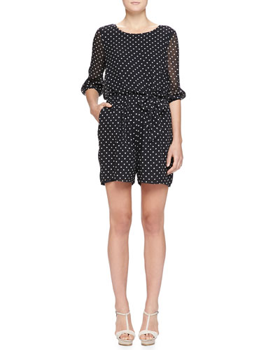 Armani Collezioni Dot-Print Georgette Short Jumpsuit, Black/White