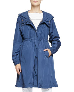Lightweight Tech Fabric Trench Coat with Removable Vest