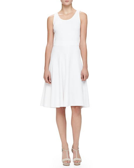 Armani Collezioni Flare-Skirted Milano Jersey Dress, White