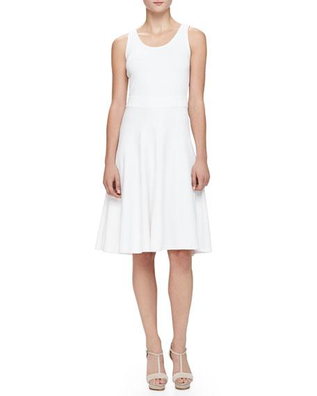Armani Collezioni Flare-Skirted Milano Jersey Dress, White