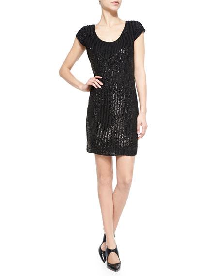 Armani Collezioni Sequin Pinstripe Scoop-Neck Dress, Black