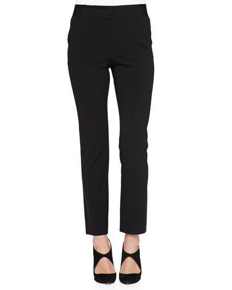 Armani Collezioni Elastic-Waist Slim Pants, Black