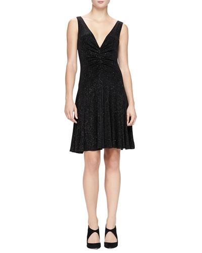 Armani Collezioni V-Neck Glitter Jersey Dress