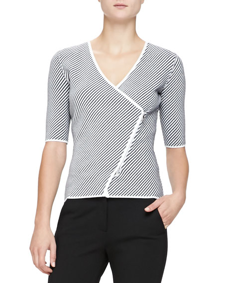 Armani Collezioni Diagonal-Striped Knit Elbow-Sleeve Jacket