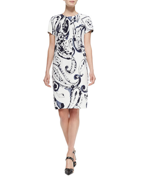 EscadaShort-Sleeve Printed Dress w/ Pleated Neck