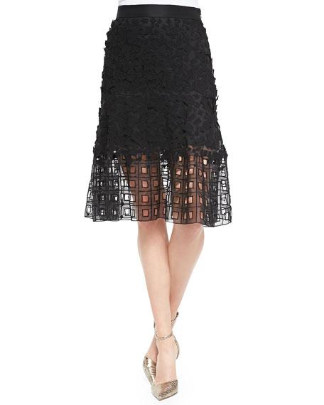 Escada Lace Eyelet-Hem Skirt