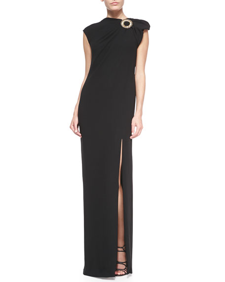 Embroidered-Applique High-Slit Gown, Black