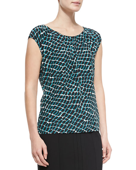 Escada Cap-Sleeve Printed Chiffon Top